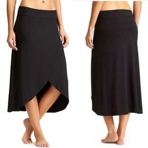 ATHLETA Ribbon Tulip Wrap Midi Skirt Black